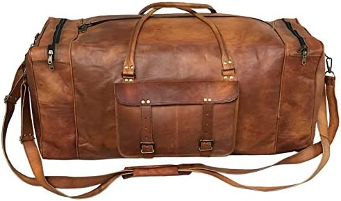 Large Leather 32 Inch Luggage Duffel Weekender Travel Overnight Carry One Duffel Bag For Men (BROWN)