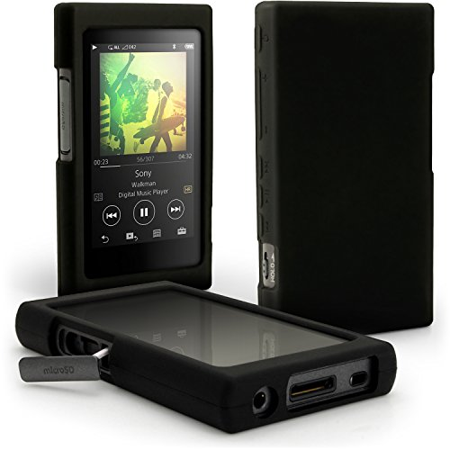 iGadgitz Black Silicone Skin Case Cover for Sony Walkman NW-A35 NW-A40 NW-A45 MP3 Player + Screen Protector