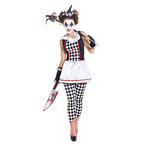 Female Scary Clown Costumes (Womens Red And Black Evil Harlequin Clown Jester Joker Costume,Med 6 - 8 US,Black)