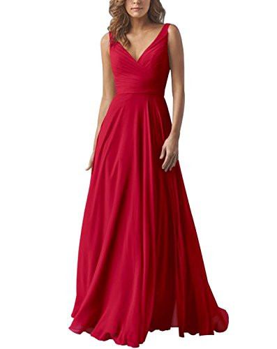 Yilis Double V Neck Elegant Long Bridesmaid Dress Chiffon Wedding Evening Dress Red US12