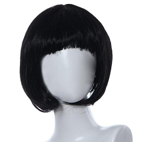 Vibola Masquerade Small Roll Bang Short Straight Hair Wig Wave head (black)