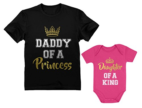 Tstars Father & Daughter Matching Set Gift For Dad & Baby Girl Bodysuit & Men's Shirt Man Black Small/Baby Wow Pink Newborn (0-3M) -