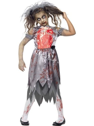 Bride Uk Costume Halloween (Medium Girls Zombie Bride)