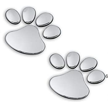 Eyourlife 3D Chrome Dog Paw Footprint Sticker Decal Auto Car Emblem Decoration Color Silver