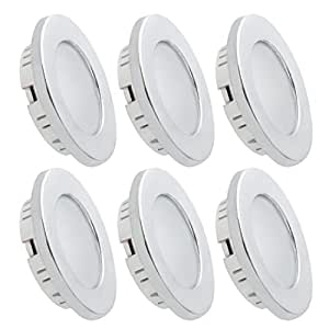 Dream Lighting Under Cabinet LED Lighting 12 Volt 2W Cool White Silver Shell Recessed Downlights for RV Motorhome Camper Trailer Pack of 6