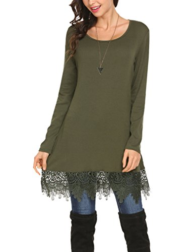 Women's Long Sleeve Lace Trim Short A-line Dress Casual Long Tunic top (L, Army Green)