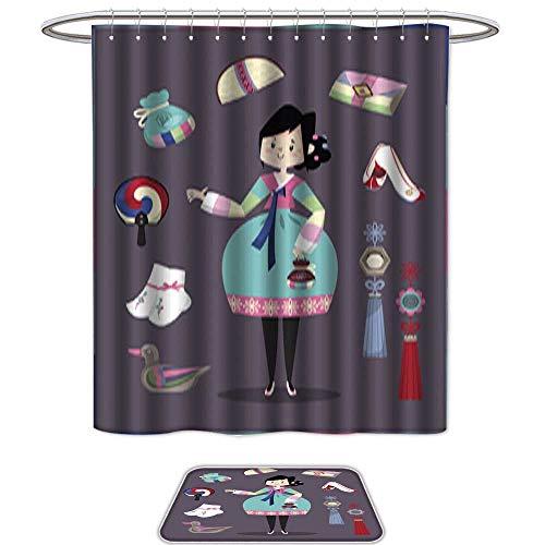 QianHe Set of 2,Shower CurtainGirl in Korean Traditional Costume and Accessories. Waterproof Fabric Bathroom,12pcs Metal Hook