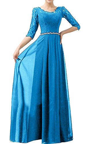 La Linie Damen Braut Rock Partykleider A Chiffon Langarm Abendkleider Blau Ballkleider mia Blau Festlichkleider PfPwrq