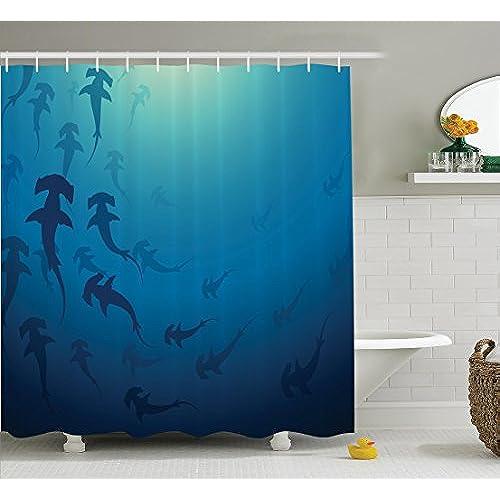 Sea Animals Decor Shower Curtain Set by Ambesonne  Hammerhead Shark School  Scan Ocean Dangerous Predator Wild Nature Illustration  Bathroom  Accessories. Shark Bathroom Accessories  Amazon com