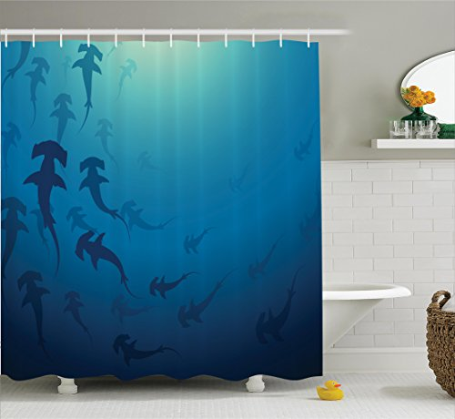 Ambesonne Sea Animals Decor Shower Curtain Set, Hammerhead Shark School Scan Ocean Dangerous Predator Wild Nature Illustration, Bathroom Accessories, 84 Inches Extralong, Navy (Most Dangerous Sharks)