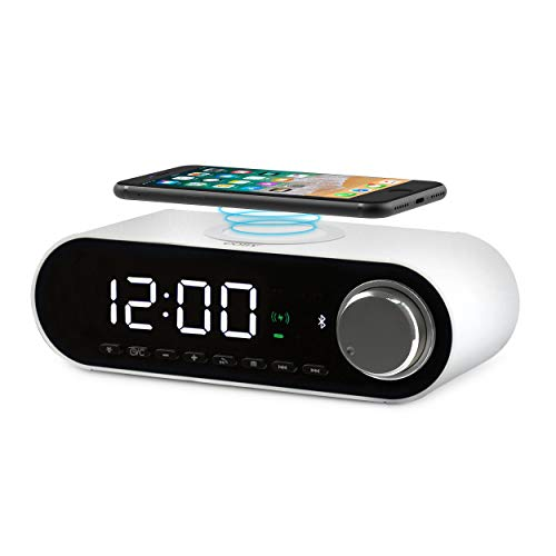 COBY Digital LED Alarm Clock Built In 10W HD Bluetooth Speakers FM Radio QI Certified Fast Wireless Charger for iPhone, Samsung and More,USB port Battery Backup Aux In, Dimmer for Bedroom, Office Desk