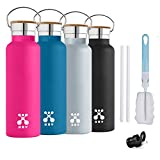 XRY Double Wall Stainless Steel Vacuum Insulated Water Bottle,20oz(600ml,Standard Mouth,BPA Free,Friendly for Outdoor Sports Yoga Camping,2 Exchangeable Caps+2 Straw+Brush (Black, 600ml)