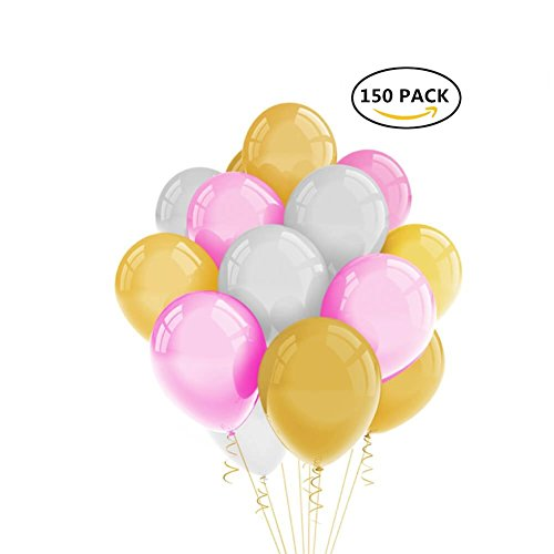 Pearlized Latex Round Balloons 12 inch for Birthday Wedding Party Decoration Gold Pink White Colors 150pcs