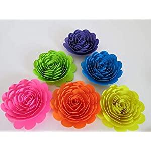 """Neon Rainbow Roses, 3"""" Paper Flowers, Set of 6, Unicorn Theme Party Decor, Floral Wall Decorations, Teen Kid Birthday Table Scatter 27"""