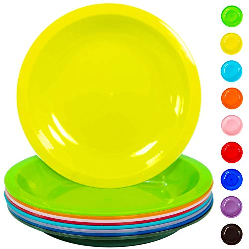 Youngever 7.5 Inch Plastic Plates, Small/Kid Size, Snack Plates, Microwave Safe, Dishwasher Safe, Set of 9 in 9 Assorted Colors