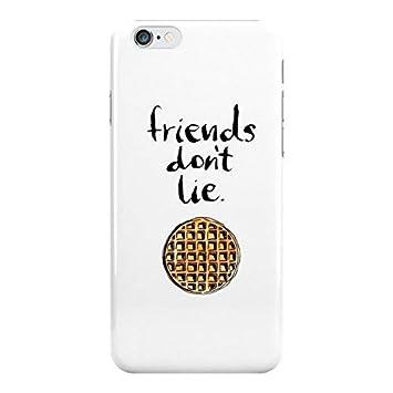 Funda de plástica para iPhone con frase de serie de TV Stranger Things: «Friends dont lie» con fondo blanco