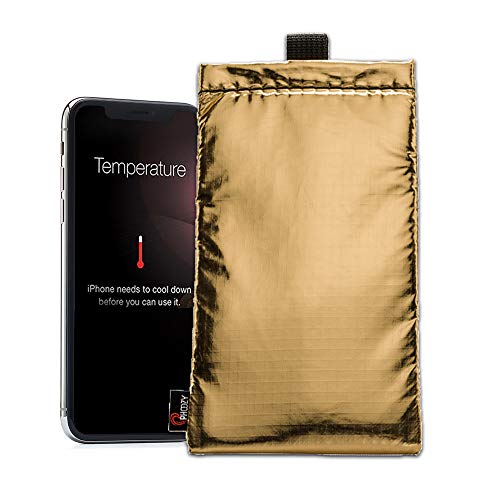 - PHOOZY Thermal Phone Case - Helps Prevent OVERHEATING in The Sun, EXTENDS Battery Life and Floats in Water. Fits iPhone 8/X/XR, Galaxy S9/S10 and Similar Sized Phones. [Apollo Gold in Plus Size]
