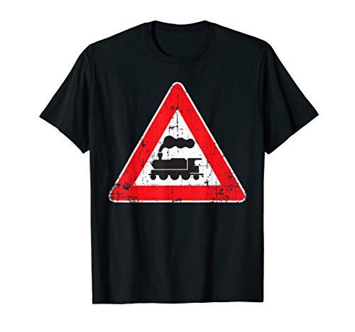 Railroad Train Distressed Traffic Street Sign T Shirt ()