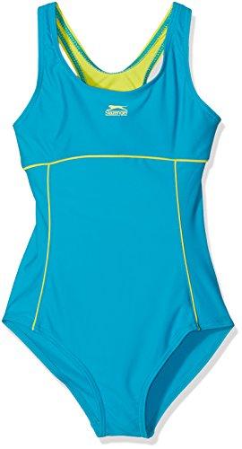 Slazenger–Bañador para niña, con clásico recorte en X en la espalda, materiales duraderos, ideal para piscina, el lago o el mar, apto a partir de 7–�?años, 9–�?0años, 11–�?2años, 13años, y 14 teal/lime