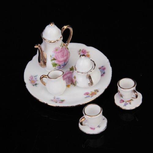 8pcs Dining Ware Porcelain Tea Set Dish Cup Plate 1/6 Dollhouse Miniature -Pink Rose