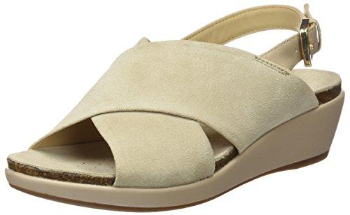 GEOX Women W Abbie 6 Wedge Sandal, Light Taupe, 37 EU/7 M US