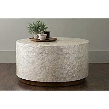 Attractive East At Main Rowden Off White Wood And Capiz Round Coffee Table, (31x31x16