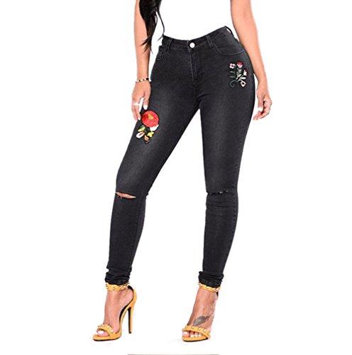 Bordados Rasgados Jeans Casual Las Alta Mujeres Cintura Black MYX De Apeados qBaTWnqdt