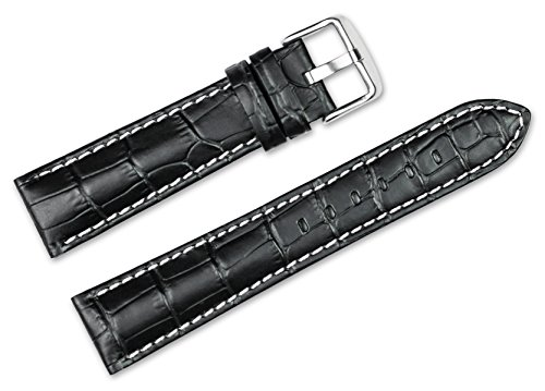 20mm-replacement-leather-watch-band-alligator-grain-black-w-white-stitching-watch-strap