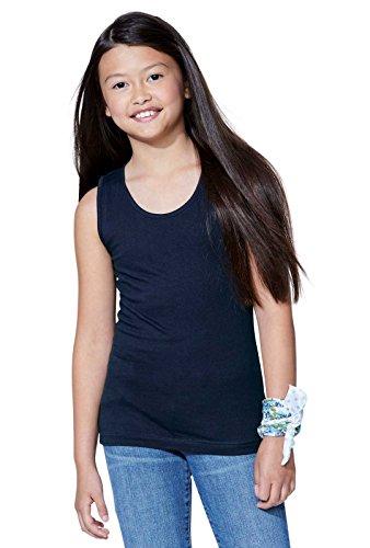 LAT Girls' 100% Cotton Jersey Scoop Neck Tank Top (Black, Small)