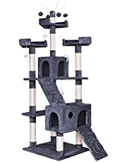 BEASTIE Cat Tree Scratching Post Scratcher Tower Condo House Furniture Wood 210 (Grey)