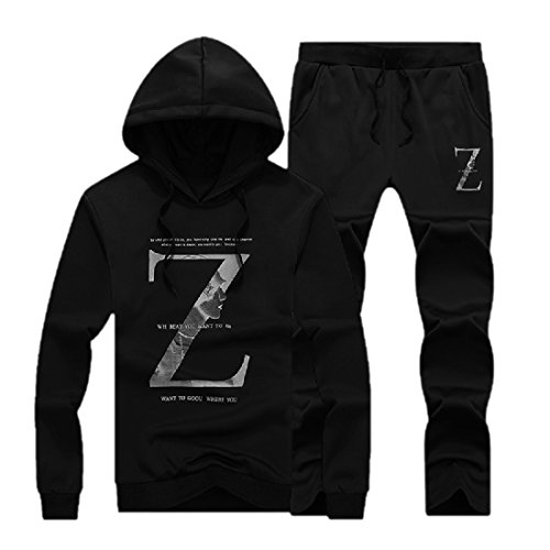 Abetteric Men's Sweatsuit Pullover Floral Wild Tracksuit Outfit Black 3XL