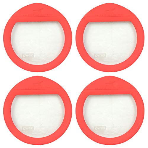 Pyrex Ultimate OV-7201 Red 4 Cup Round Glass Storage Lid - 4 Pack