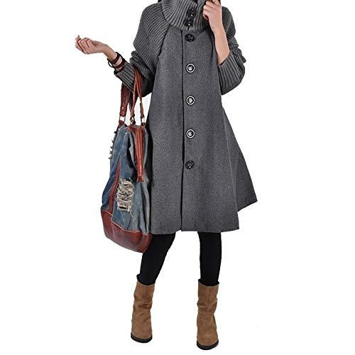 Abrigo de Invierno de Moda para Mujer, Abrigo Largo Suelto Medio, Abrigo de Capa de Gran tamaño Femenino Novedad de 2018