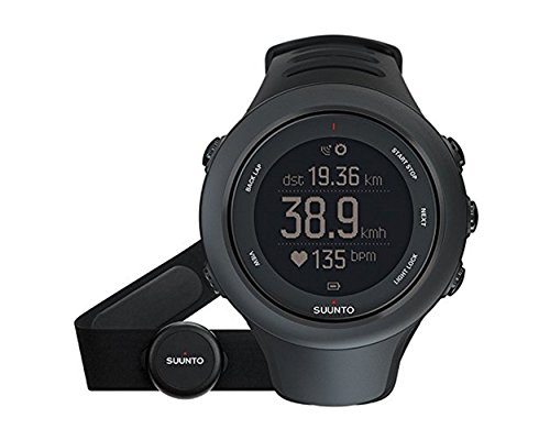 Suunto Ambit3 Sport Black (HR) Digital Display Quartz Watch, Black Elastomer Band, Round 50mm Case