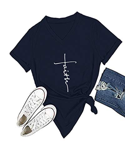 - Women Cross Faith T-Shirt Printed V-Neck Letter Christian Graphic Cute Tees (Navy Vneck, L)