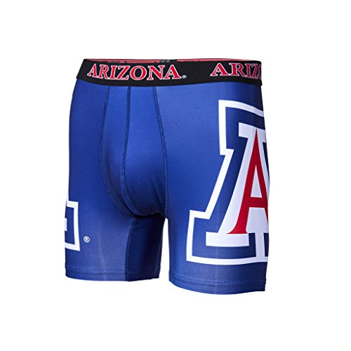 Arizona Fabric Wildcats - Fandemics NCAA Men's Boxer Brief, Blue, Medium (32-34)