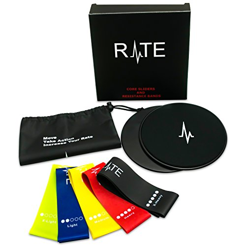 Rate Fitness Sliders and Resistance Loop Bands Exercise Set, Premium 80 Day Obsession Equipment | Dual Sided Gliding Discs (2) Fitness Bands (5) Portable Carry Bag | At Home Workout Set For Beachbody by Rate Fitness