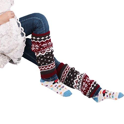 Oksale Women Winter Snowflake Knee Crochet Knitted Boot Cover Sock Leg Warmers (Embellished Snow Boots)