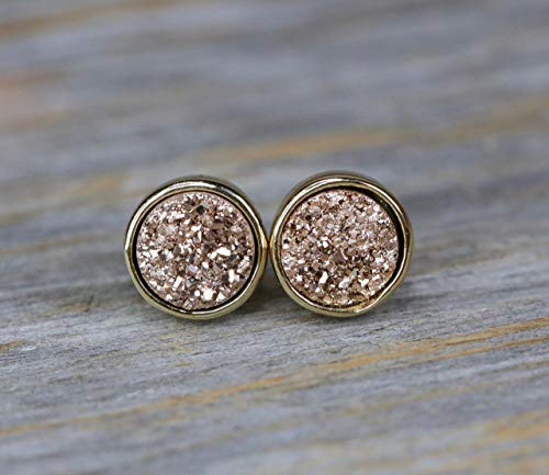 - Rose Druzy Stud Earring Sale Real Druzy Quartz Gemstone Gold Bezel 8mm Back to School