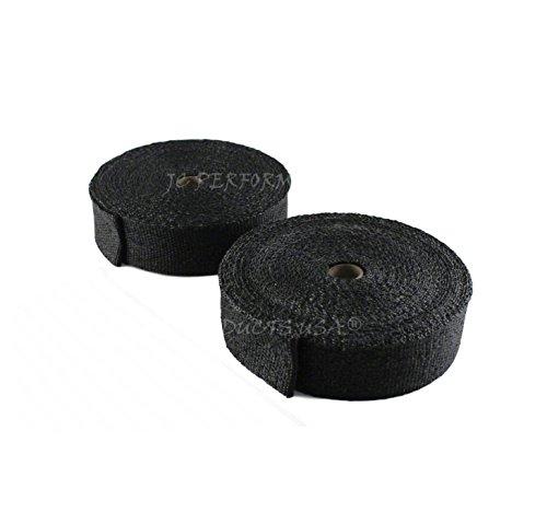 JC Perfomance Vermiculite Treated Fiberglass Wrap - 2 Inch Two Roll Pack - Graphite Black Header Wrap, Exhaust Pipe, Fiberglass Blend, Heat Insulator (100 Feet (2 x 50