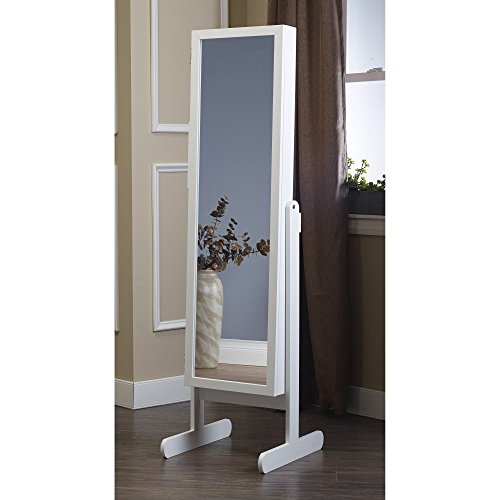 Plaza Astoria Free Standing Jewelry Armoire Cabinet Style Jewelry Armoire with Adjustable Stand, Full Dressing Mirror & Vanity Mirror for Bracelets, Necklaces, Rings, Earrings and More, White (Tilt White Earrings)