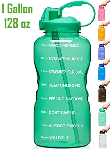 Venture Pal Large 1 Gallon/128 OZ Motivational BPA Free Leakproof Water Bottle with Straw & Time Marker Perfect for Fitness Gym Camping Outdoor Sports-Green (Perfect Amount Of Water For Bottle Flip)