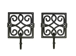 Bourbon Street Style Black Iron Decorative Wall Hook-Betsy Fields Design (Set of 2)