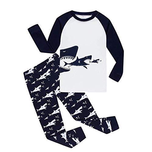 LIKESIDE Toddler Baby Cute Boys Girls Long Sleeve Shark/Car/Dinosaur Print Tops+Pants Pajamas Sleepwear Outfit -