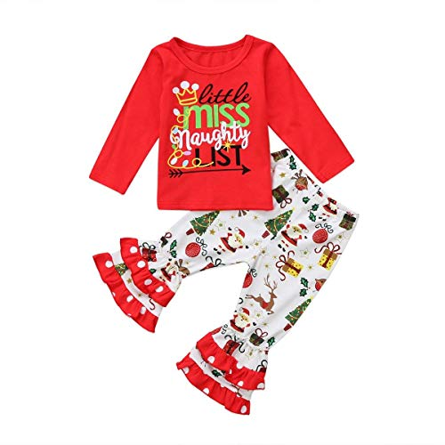 Treafor Baby Toddler Girl Christmas Outfit Set Santa Printed Ruffle Pants + Letter Printed Red T-Shirt (18-24M, White) -