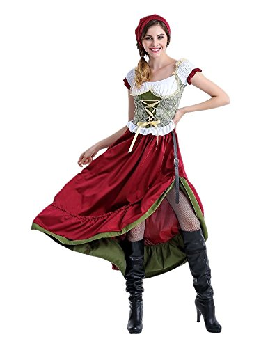 Honeystore Women's Oktoberfest Adult Halloween German Beer Bar Maid Costume Long Style XL