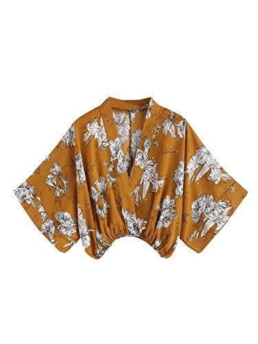 Kimono Wrap Top - MAKEMECHIC Women's V Neck Floral Print Wrap Top Surplice Chiffon Crop Blouse Yellow L