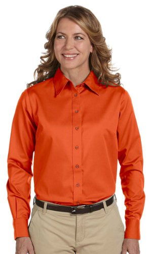 - Harriton Easy Blend Long-Sleeve Twill Shirt with Stain-Release 2XL TEAM ORANGE