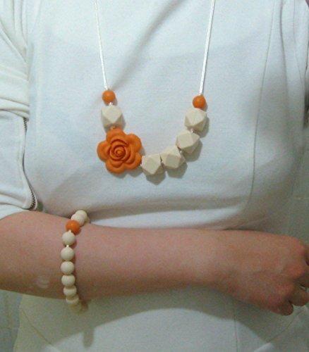 A L L U R E silicone teething necklace + bracelet (cream/orange) FDA compliant food grade silicone