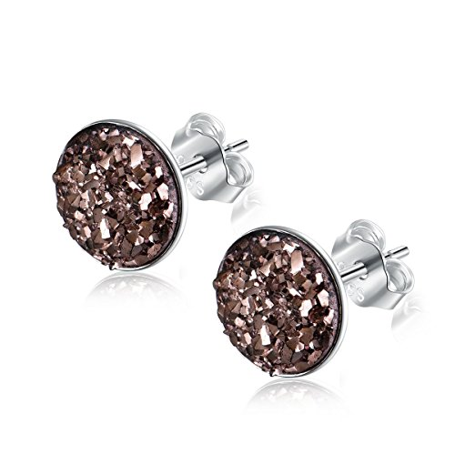 EVERU Sterling Silver Round Druzy Stud Earrings, 8 Colors Options, 8mm (Champagne)